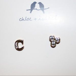 Alphabet + Trio Stone Mismatched Earrings
